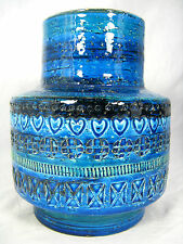 "Beautiful Aldo Londi design Bitossi  "" Rimimi blue "" pottery  vase Italy 17,5 cm"