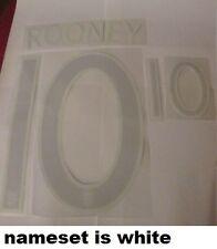 Rooney no 10 England Away Football Shirt Name Set White Adult Sporting ID