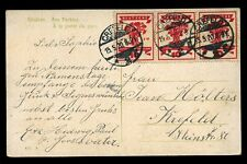 Germany 1920 PPC CREFELD local use strip 3 10pf  National Assembly
