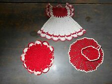 BEAUTIFUL ANTIQUE VINTAGE CROCHETED CUP & SAUCER, POT HOLDER AND DRESS