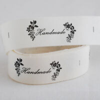 20 Printed Cotton Fabric Ribbon Sewing Labels - Handmade - Floral Vintage Style
