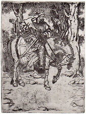 PERSIAN MIDDLE EASTERN RIDER ON HORSE BACK original limited edition art etching