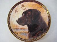 """Franklin Mint """"Black Labrador, Man's Best Friend"""" Royal Doulton L/E Plate, 8"""" D"""