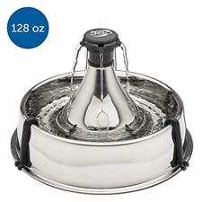 Pet Dog Cat Hydration Fountain Fresh Filtered Water Stainless Steel 360 Design