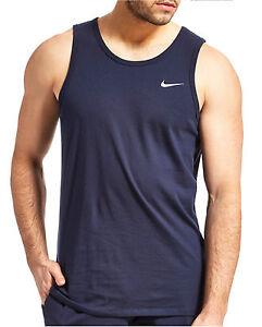 New Men's Nike Logo Vest Tank Top Sleeveless T-Shirt Singlet - Navy Blue
