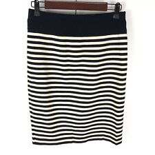 Escada Pencil Skirt Womens Size 36 US 6 Blue Beige Knit Striped 100% Is Wool