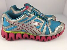 Reebok ZigDynamic Shoes Youth Blue Silver Pink Basketball Sneakers size 6.5