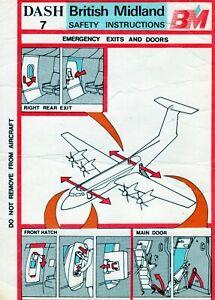 BRITISH MIDLAND DASH 7 SAFETY CARD