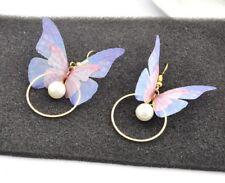 3D Rose Gold Colorful Butterfly Feather Pearl CZ Drop Stud Earrings Gift PE15