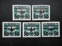 Germany Nazi 1940 Stamps MINT Swastika Eagle Overprint Generalgouvernement WWII