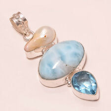 New 3pc set of Caribbean Larimar, Blue Topaz & Biwa Pearl,.925 Sterling silver.