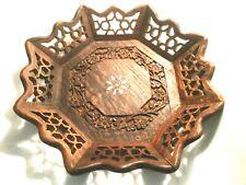 Vintage antique ornate hand carved wood inlaid design dish bowl Indian