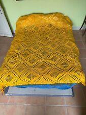 Couverture Vintage Rétro jaune orangé Crochet Couvre-lit / King Blanket Throw