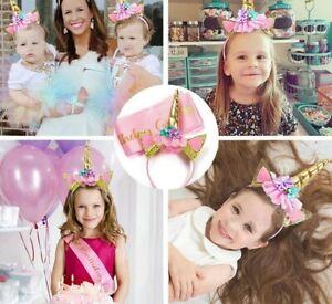 CUTE Unicorn Birthday Girl Set Party Decorations & Favors PINK Satin Sash Gift