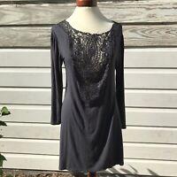 2Hearts Navy Blue Tunic Top Night Shirt Long Sleeve Lace  Women's Size Small