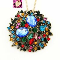 Colorful Crystal Big Round Flower Pendant Betsey Johnson Necklace/Brooch Pin