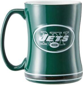 New York Jets 14 oz Team Color Sculpted Logo Relief Coffee Mug  - NEW