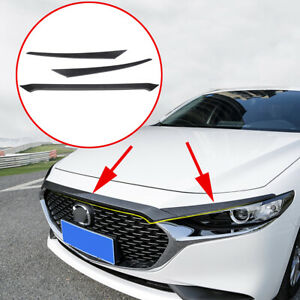Carbon Fiber Hood Grill Bonnet Strips Cover Accessories For 19-20 Mazda 3 Axela