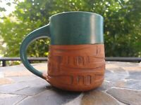 Southwestern Mexican Mug Pottery Teal Handmade New Mexico Adobe Great Condition!