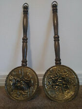 Euc! Set of 2 Vintage Decorative Brass & Wood Bed Warmer Wall Pockets - England
