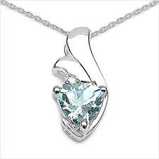 Collier/Kette Anhänger Diamant-Blautopas 925 Silber/Rhodiniert