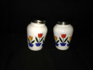 """Fire King TULIP milk glass 4 1/2"""" tall salt and pepper shakers (wrong lid)"""