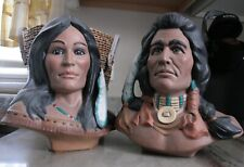 Warrior Chief and Bride Home Decor, 11 Inch Tall Statues, Native Motif Busts