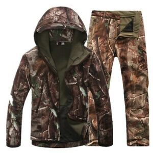 Outdoor Softsell Military Men's Waterproof Jacket Hiking Fishing  Fleece Pants