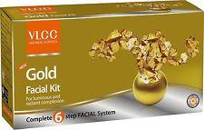 VLCC Gold Facial Kit 60gm (2.1 Oz) Gel Mask Scrub Facial Cream Six step Formula