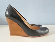 Christian Louboutin Miss Boxe 100mm Black Leather Wood Wedge Heels. Size 39.5