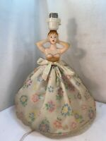 Vtg 1950's Plastic Plastic Doll Lady Woman Table Lamp Flower Hoop Skirt Boudoir