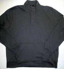 Mens XXL GAP LS Henley Grey Cotton Mock Neck Shirt Hand-Warmer Pouch 36 Sleeve