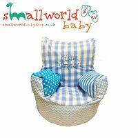 Personalised Blue Patchwork Toddler Bean Bag Chair (NEXT DAY DISPATCH)