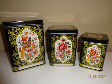 Set of 3 Vintage Nested Nesting Metal Tin Empty Storage Containers
