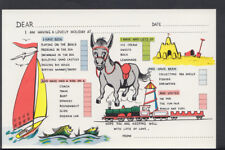 Greetings Postcard - Holiday Message Card - Donkey / Yacht / Sandcastle A540