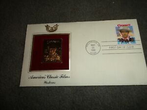 JOHN WAYNE LEGENDS OF HOLLYWOOD USPS FIRST DAY OF ISSUE 22k w/ GOLD PLATE STAMP