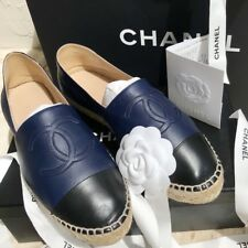 CHANEL CLASSIC FLAT ESPADRILLES -VERY RARE -NAVY/BLACK SZ 40 -WITH BOX & RECEIPT