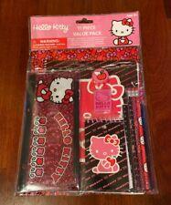 New Nip Sanrio 11-Piece Hello Kitty Stationary Set Folder Notebook Pencil Eraser