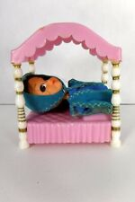 Vtg Hasbro Storykins Sleeping Beauty Doll Blue Dress Head Scarf Bed