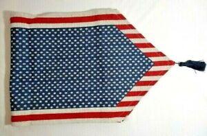 Patriotic Table Runner Stars Stripes Red White Blue Americana Dining Tassels NEW