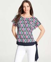 Ann Taylor Ikat Print Side Tie Blouse Top MP Medium Petite Short Sleeve