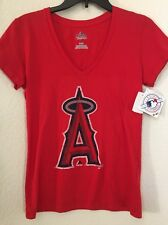 MLB Anaheim Angels Baseball Authentic Majestic Red Women T Shirt Sz M