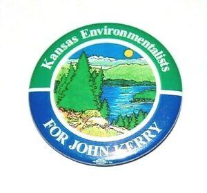 2004 KANSAS ENVIRONMENTALISTS JOHN KERRY campaign pin pinback button political