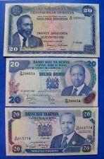 BILLET DU KENYA #  3 x 20 SHILING 1972 # 1982 # 1991#