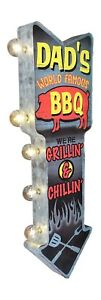 Dad's BBQ Grillin & Chillin Metal Sign W/ LED Lights, Double Sided Arrow Shaped