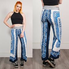 90S VINTAGE BLUE & WHITE FLORAL PAISLEY PRINT WOMENS TROUSERS LOOSE FIT HIPPIE 8