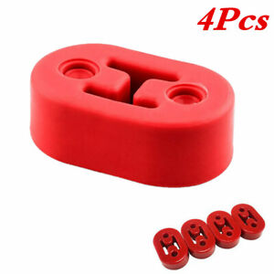 4Pack Red Muffler Exhaust Mount Hanger Polyurethane Rubber for Car 2Holes 11.5MM