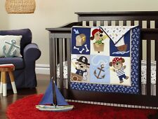 NEW 4pcs Blue Pirate baby Crib Cot Bedding Set Quilt Bumper Sheet Dust Ruffle