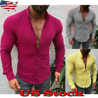 Men's Button Down Slim Fit Long Sleeve Dress Shirt Casual Muscle Shirts Tops New