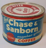 Old Vintage 1950s CHASE SANBORN COFFEE KEYWIND COFFEE TIN 1 POUND MADE IN USA